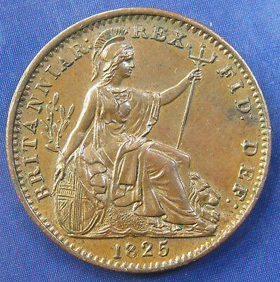1825 ¼d George IV copper Farthing: raised leaf midribs, aUNC with lustre
