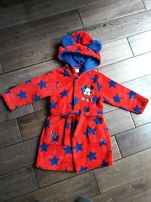 Baby Boy Disney Mickey Mouse Robe/ Dressing Gown 12-18 months, red/navy