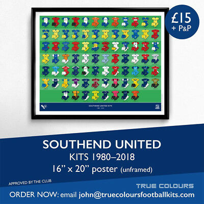 SOUTHEND UNITED Home & Away Football Kit Poster Print 1980-2018 UNFRAMED