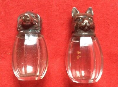 vintage 1920s white metal topped glass cat and dog salt and pepper pots