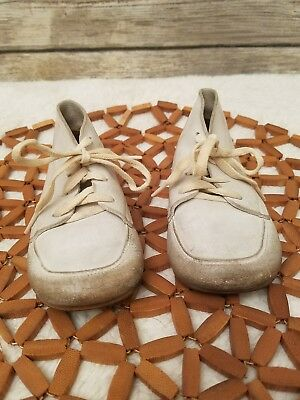 Vintage 50s Old Baby Shoes White Leather Walking Lace Up Approximately Size 5