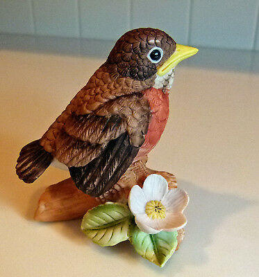 Vintage Lefton bisque ceramic baby robin bird figurine