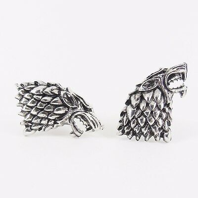 HOUSE OF STARK WOLF CUFFLINKS winter is coming game of thrones GoT direwolf