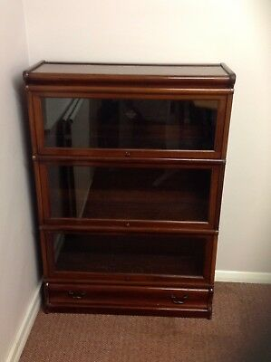 Genuine, antique Globe Wernicke three tier glass fronted bookcase, shelving unit