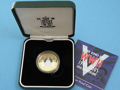 2005 Royal Mint - SILVER PROOF TWO POUND £2 COIN - END OF WWII + Box & Cert