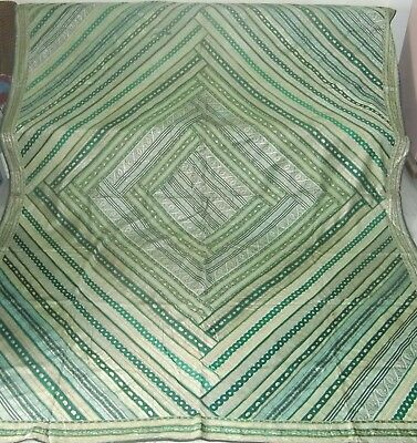 Old Vintage Green Color Hand Patch Work Brocket Tapestry Wall Decor Indian Art