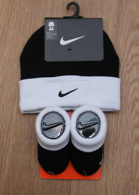 Nike Baby Boy Infant Hat & Booties Set ~ Black & White ~ 0-6 Months ~
