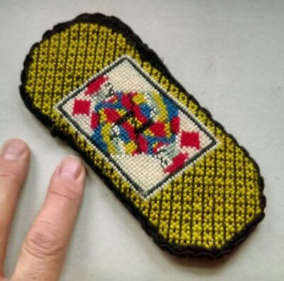 NICE OLD VICTORIAN STYLE BRAIDED TAPESTRY SPECTACLE CASE with PLAYING CARD MOTIF
