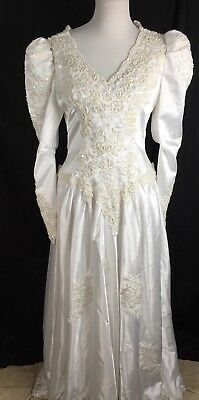 Vtg 80s Sweetheart Gowns Puffy Sleeve Wedding Dress Extravagent Beading Sz 18 XL