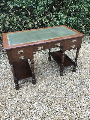 Antique Writing Desk With Leather Top And Drawers