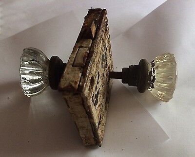 Antique Vintage Glass Handle Door Knob Set With Lock Hardware Skeleton Key Type