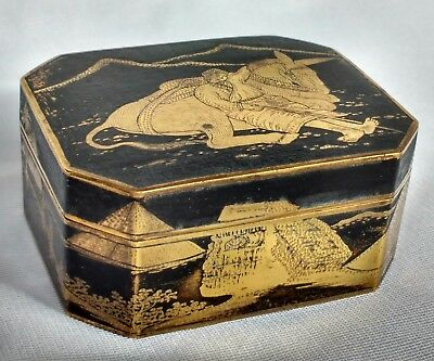 Unusual Japanese damascene box with Egyptian Revival themed decoration C.1920