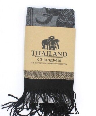 100% Pashmina Scarf - Pure Cashmere Soft & Light – Black - Hand Made in Thailand