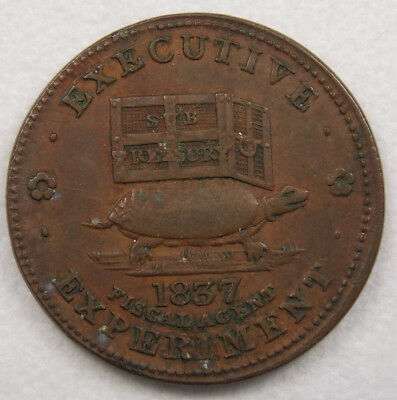 Antique 1837 Hard Times Token Executive Experiment Fiscal Agent Turtle Donkey