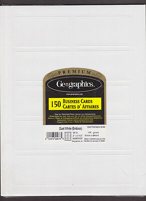 """Premium Geographics 150 Business Cards Duet White Emboss 2X3.5"""" Acid Free SEALED"""