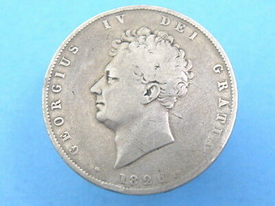 1826 KING GEORGE IV - SILVER HALFCROWN COIN - Bare Head