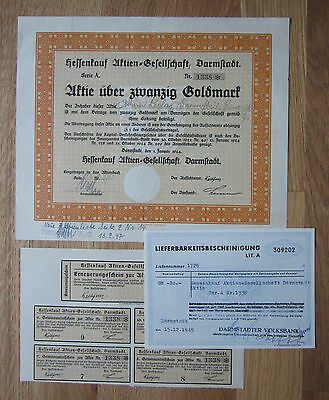 Hessenkauf AG, 20 GM, Darmstadt, 1924 / Coupons / kein Barov