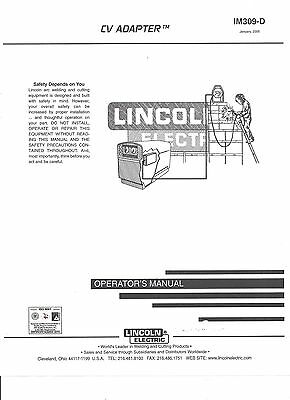 Lincoln Electric (CV ADAPTER Welder Operators  Manual) Bound Copy