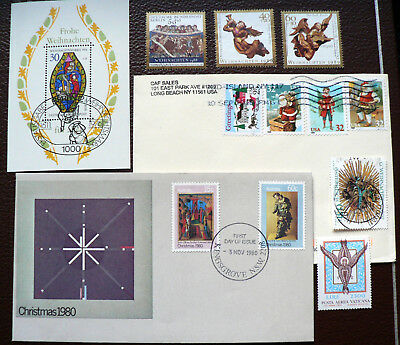 Weihnachtsmotive FDC, Brief, Block, 5 Marken