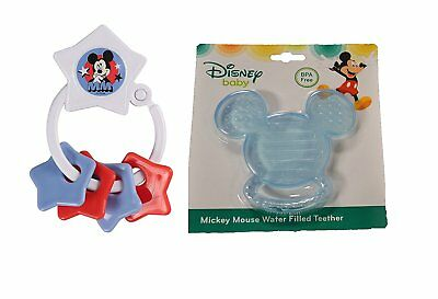 Disney Mickey Icon Light Blue Water Filled & White Key Ring Stars Teether Set