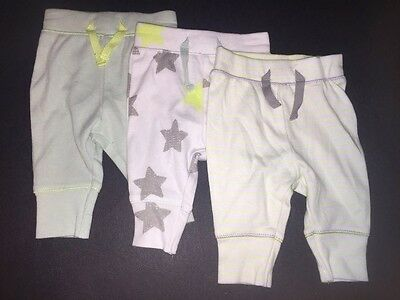 Baby Cat & jack Lot Of 3 Pants White/Mint/ Neon Green Size NB -NWOT