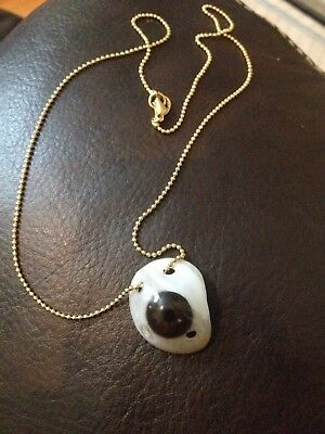 Vintage Prosthetic acrylic Glass Eye necklace from 1960s real eye antique ww2