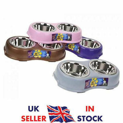 Double Pet Food/Water Bowl Dog & Cat Stainless Steel Non Slip Feeding Dish UK
