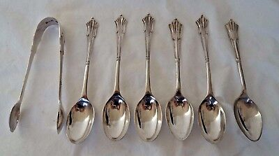 Set Antique 1914/15 Solid / Sterling Silver Tea Spoons  And Sugar Tongs