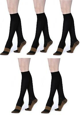 5  Pair Lg/XL Black Compression Copper Socks 20-30 mmHg Below Knee over the Calf