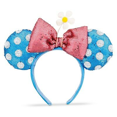Disney Parks Sequined Minnie Mouse Ear Headband - Blue w/ Polka Dot and Daisy