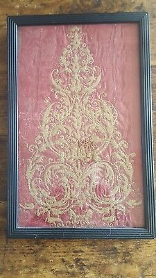 Antique framed Gilt Thread Embroidery on red silk