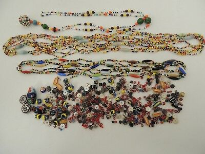 HUGE Lot of VINTAGE Beads - 2 LONG Necklaces Tiny Red White Hearts & 2 Metal