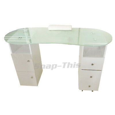 Nail Technician Desk Manicure Art White Table Salon Workstation Pedicure Storage