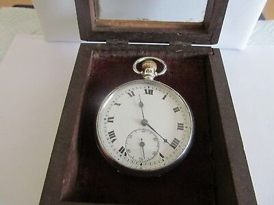 1926 pocket watch solid silver very good condition working in wooden display box