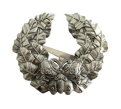 Sylvia Dahl  Large Silver Tone Wreath with Butterfly Dress Coat Scarf Clip