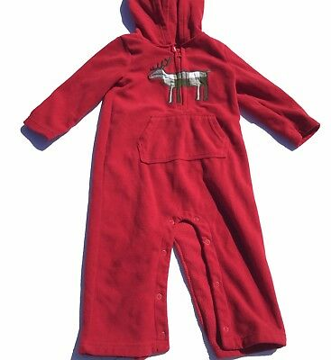 Carters Toddler Hooded Fleece Romper Size 18M Red Christmas Holiday Reindeer