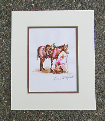 Western Art Fred Oldfield (1918-2017) PINK SHIRT COWBOY Hand Signed print