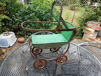 Antique 1900's South Bend Toy Co. Green Wicker Doll Carriage Stroller