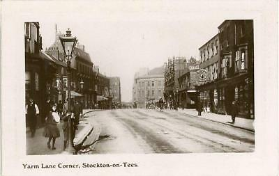 Real Photographic Postcard Of Yarm Lane Corner, Stockton-On-Tees, County Durham