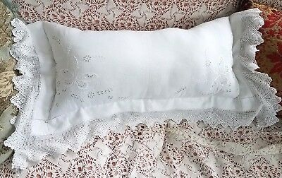 VTG Crochet Lace Embroidered Doily/Table Cloth Pillow French Country Hand Made
