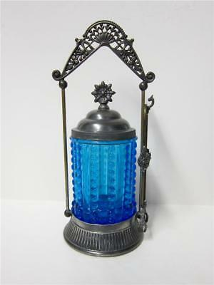 VICTORIAN blue glass EAPG silver plated PICKLE CASTOR with tongs