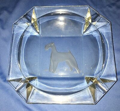Large Terrier Etched Glass Ashtray: Airedale, Kerry, Lakeland or Bedlington etc.