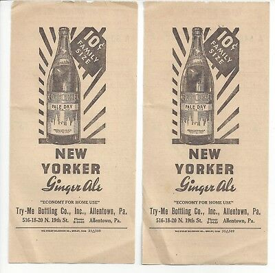 1939 Bill Heads Advertise New Yorker Ginger Ale Try-Me Bottling Co Allentown PA