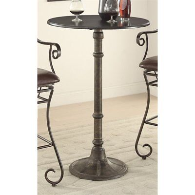 Coaster Oswego Round Pub Table in Distressed Black