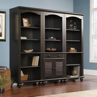 Sauder Harbor View Bookcase With Doors in Antiqued Paint