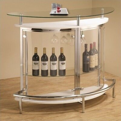 Coaster Contemporary Home Bar Unit with Clear Acrylic Front in White