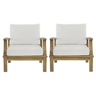 Modway Marina Outdoor Teak Chairs in Natural and White (Set of 2)