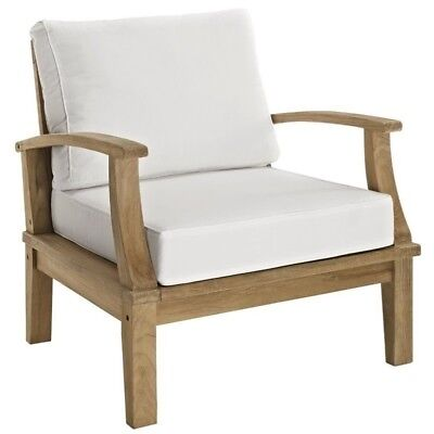 Modway Marina Outdoor Teak Armchair in Natural and White