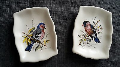 2 x AXE VALE DEVON TRINKET DISHES ~ CHAFFINCH AND BULLFINCH BIRD DESIGNS