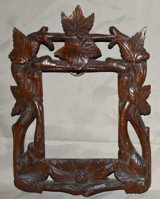 Antique Carved Oak Picture Frame Leaves Branches Thistle